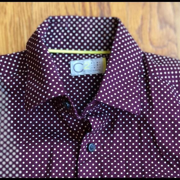99de7fa89 C2 by Calibrate Other - Boys' button down dress shirt burgundy polka dots